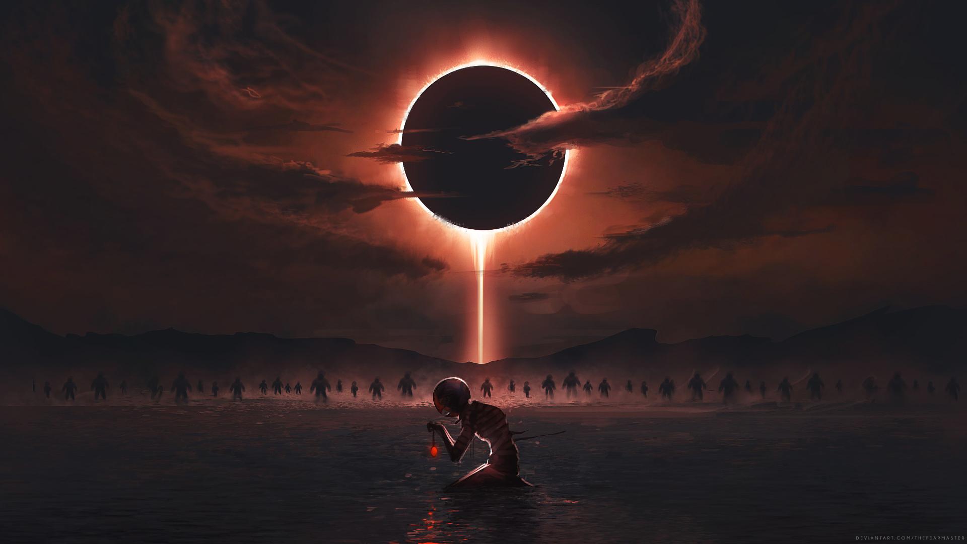 Обои Eclipse, дорога. закат, Alena Aenami. Разное foto 16