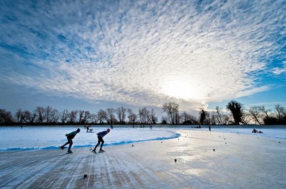 """""""Мороз и солнце; день чудесный!"""" © Фотография, Зима, Солнечно, Замёрзшая река, Конькобежный спорт"""