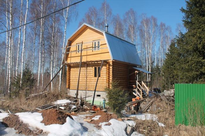 Немного о жизни зимой в деревянном доме с печкой Длиннопост, Дача, Своими руками, Сруб, Печь, Отопление