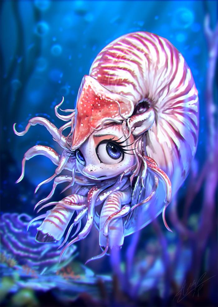 Наутилус My little pony, Original Character, Наутилус, Seapony, Ponyart, Арт