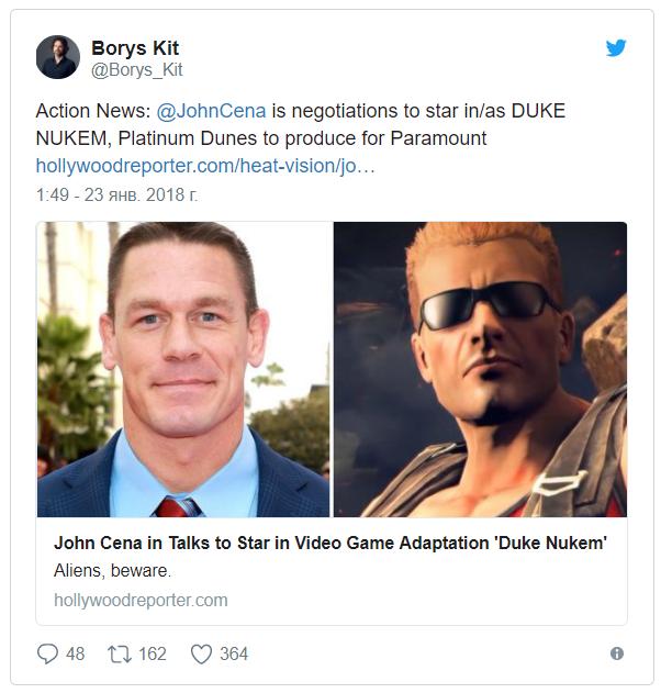 Джон Сина может сыграть Дюка Нюкема John Cena, Duke Nukem