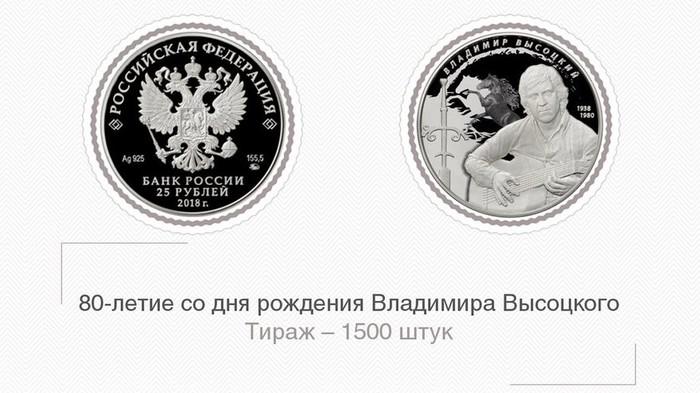 Новая монетка встречайте 25 руб Владимир Высоцкий, Деньги, 25 рублей