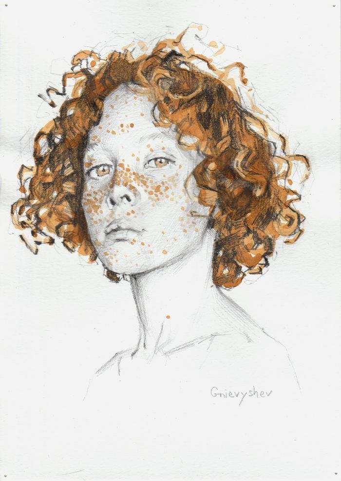 Рисунок карандашом и чаем Gnievyshev, Арт, Портрет, Рисунок на бумаге, Творчество, Рыжий