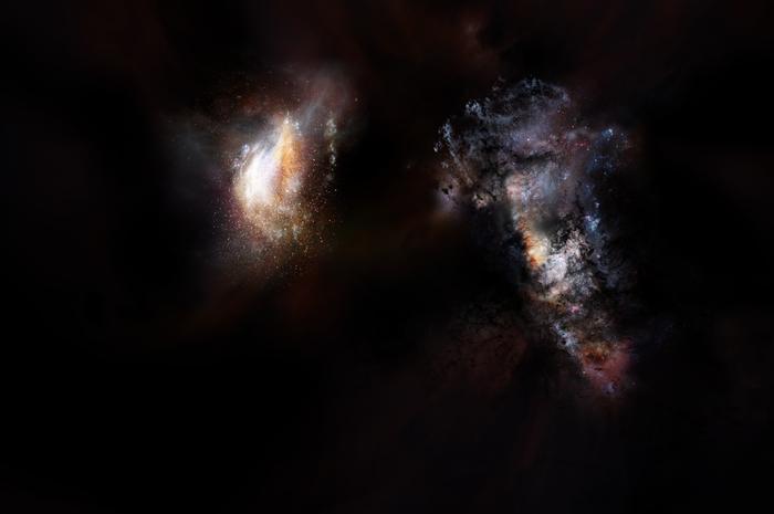 Массивные, древние галактики, в океане тёмной материи. Древние галактики, Астрофизика, Темная материя, Ранняя вселенная, Большой взрыв, Видео, Длиннопост
