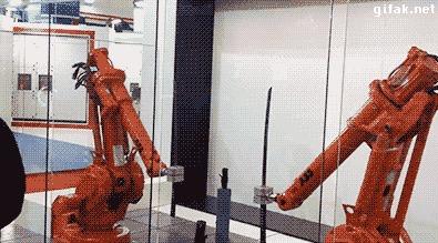 Наука движется вперёд. Только вот что там, в этом перёде... Робот, Робототехника, Наука, Самурай, Прогресс, Новости науки и техники, Гифка
