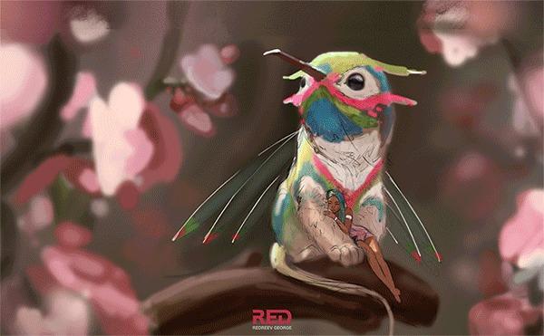 """Моя иллюстрация """"Цветочный Грифон"""" и Gif с этапами создания Иллюстрации, Арт, Georgeredreev, Фэнтези, Фея, Грифон"""
