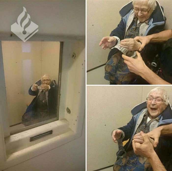 Самый счастливый преступник в мире. Фотография, Бабушка, Полиция, Наручники, Камера, Желание