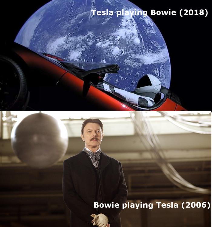 Вот это поворот Тесла, Дэвид Боуи, Космос, Престиж, Reddit
