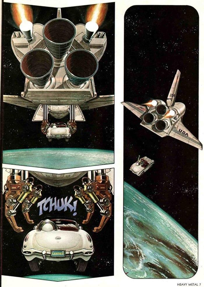 Комиксы журнала Heavy Metal 1979 года. Что-то напоминает) Илон Маск, космос, Комиксы, Heavy Metal, авто, вдохновение, арт, длиннопост