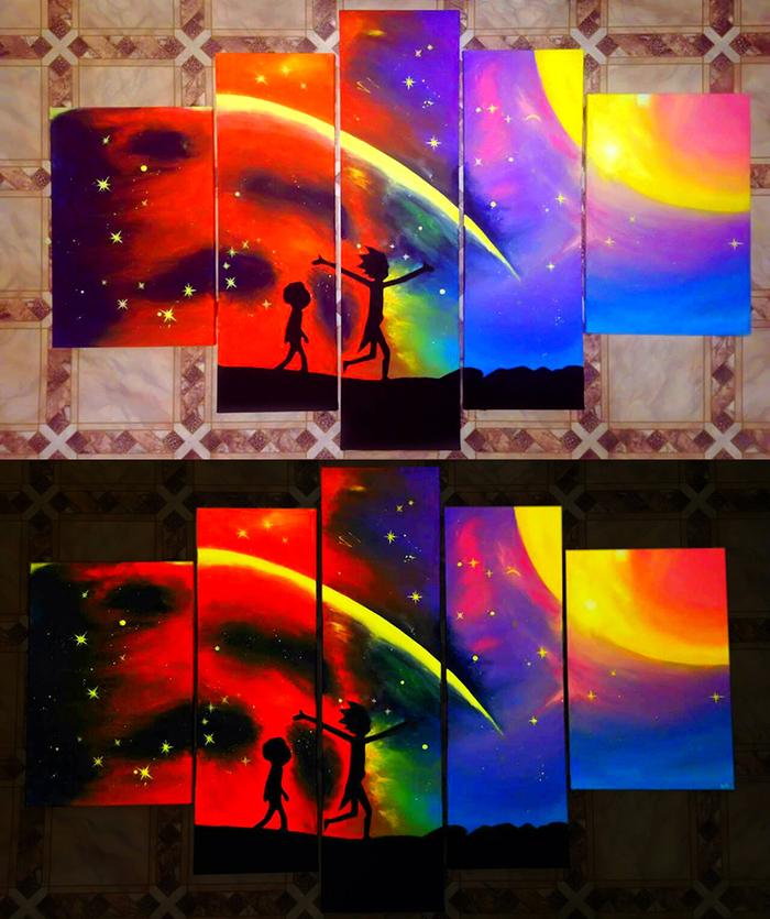 """Я нарисовал картину """"Rick and Morty"""" которая светится в темноте. Размер 170x110см"""