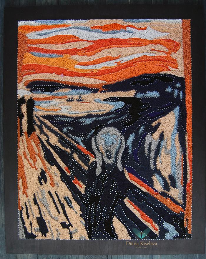 "Эдвард Мунк ""Крик"" String art, Рукоделие без процесса, Репродукция, Эдвард Мунк Крик, Своими руками, Эдвард Мунк, Крик"