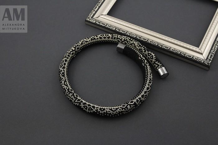 Серебристое кружево жгуты из бисера, бисер, рукоделие, рукоделие без процесса, вязание с бисером, длиннопост