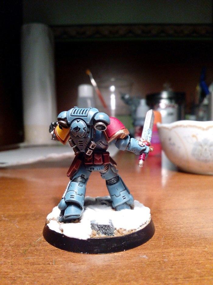 Волчий лейтенант Warhammer 40k, Space wolves, Primaris Space Marines, Покраска миниатюр, Длиннопост, Wh miniatures
