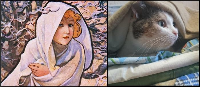 Соня в мире прекрасного Кот, Девушки, Сходство, Альфонс Муха, Картинки, Вуська и Соня
