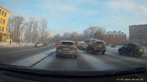 Прилетело #50 ДТП, Прилетело, Санкт-Петербург, Пробки, Встречка, Гифка, Видео