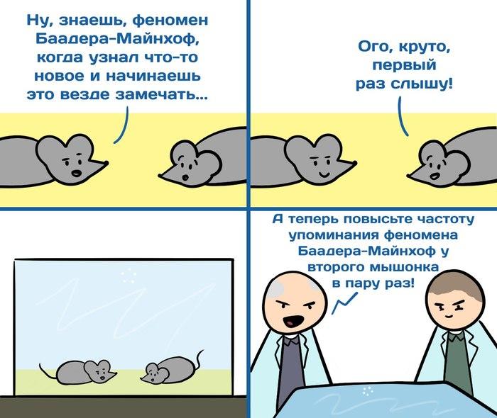 Новость №506: Мыши оказались способны к избирательному вниманию Образовач, Наука, Мышь, Феномен Баадера-майнхофа, Внимание, Комиксы