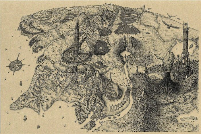 Карта Средиземья: потрясающая графика Властелин колец, Средиземье, Карты, Графика, Рисунок, Арт, Фан-Арт, Фэнтези
