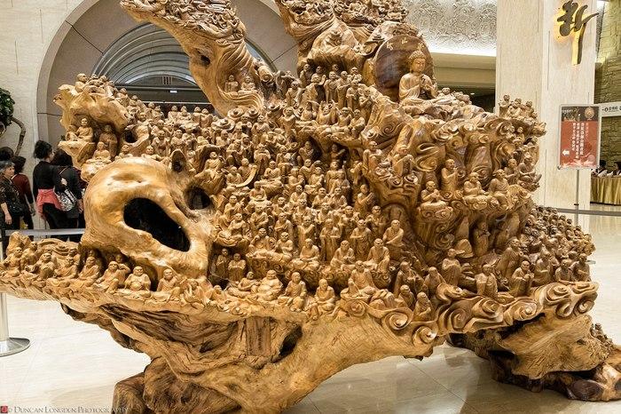 """Боевая баржа """"Колесо Сансары"""": скульптура из ствола дерева Деревянная скульптура, Будда, Нирвана"""