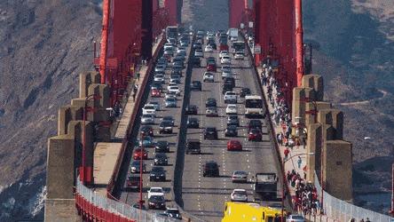 Смена разделителя Разделитель, Полосы движения, Транспорт, Мост, Золотые Ворота, Сан-Франциско, США, Гифка