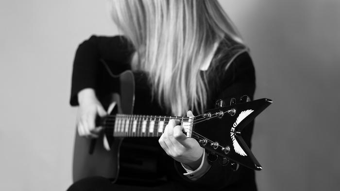 Дама с гитарой Девушки, Гитара, Фотография, Canon60d, Гелиос, Гелиос 44-2, Черно-Белое