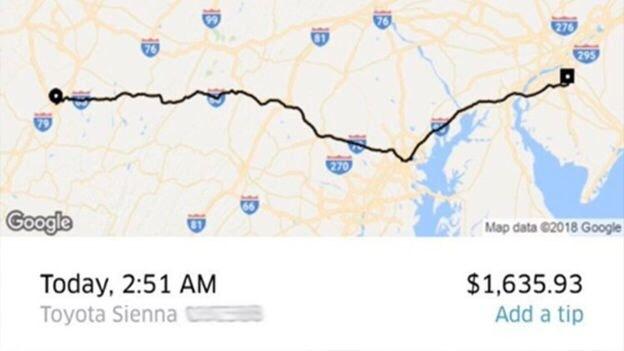 Пьяный американец проехал на$1600 в Uber, но его счёт оплатят в знак благодарности uber, поездка, Такси