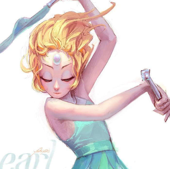Кристальные Самоцветы. Steven Universe, Pearl, Garnet, Amethyst, Арт, Длиннопост