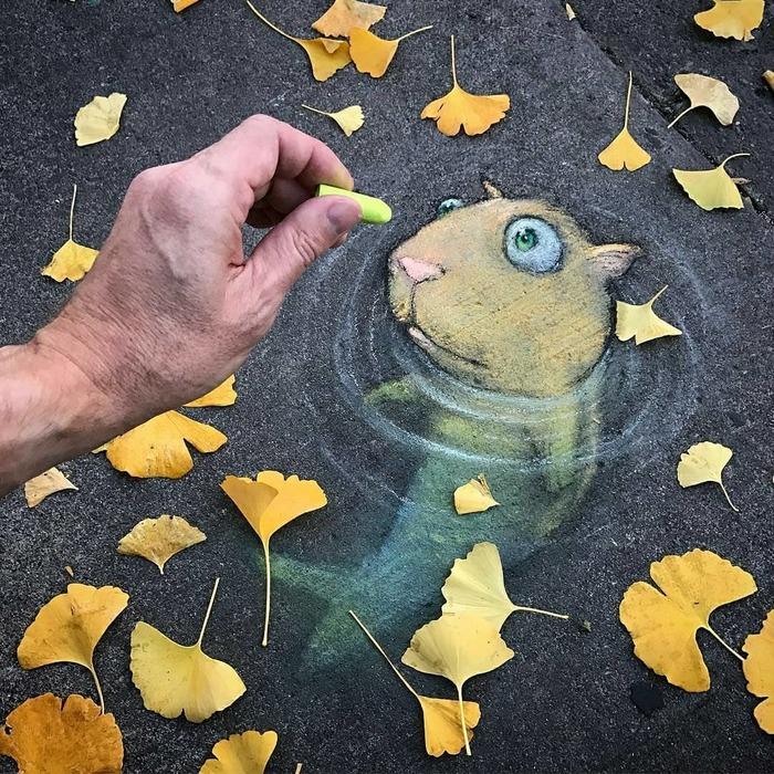 Рисунки мелками рисунок, арт, мел, асфальт, тротуарная плитка, длиннопост, David Zinn