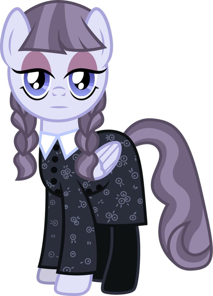 Немного кроссовера My little pony, Ponyart, Inky Rose, Crossover, Wednesday Addams, Семейка Адамс