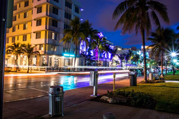 Флорида ночью. Флорида, Офигеть, Красота, Иллюминация, Пальмы, Фотография