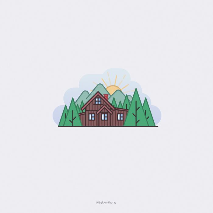 Дом в лесу Арт, Вектор, Векторная графика, Минимализм, Дом, Лес, Природа, Одиночество, Длиннопост