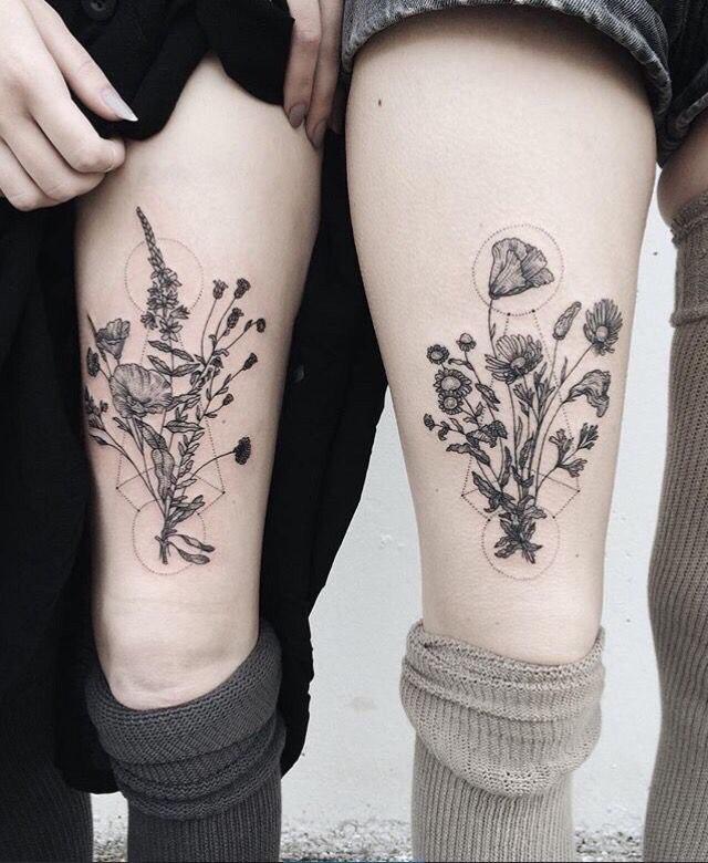 Геометрия и полевые цветы Тату, Девушки, Девушка с тату