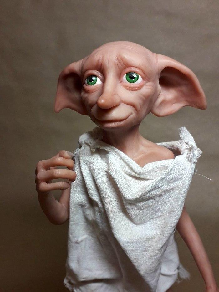 Новенький Добби, фигурка из полимерной глины Полимерная глина, Добби, Гарри поттер, Фигурка, Моё