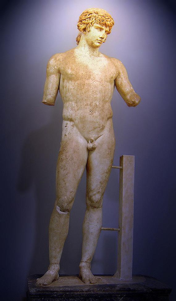 Статуя Антиноя в Дельфах - древняя статуя, найденная в Дельфи во время раскопок. 1894 Антиной, Греция, Дельфы, Статуя мраморная, Длиннопост