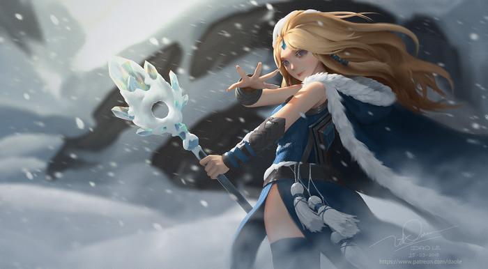 Crystal Maiden Арт, Рисунок, Crystal maiden, Dota 2