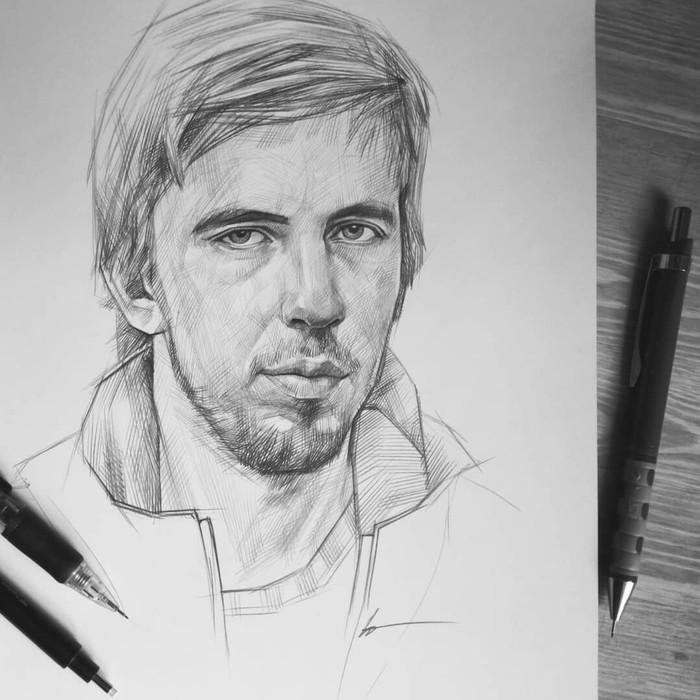 Саша Паль. Портрет карандашом.