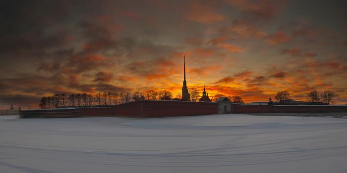 Морозный вечер в Петербурге Петропавловская крепость, Закат, Вечер, Санкт-Петербург, Фотография
