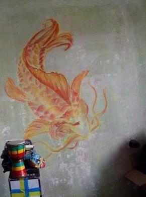 Роспись стены, сухая пастель - в процессе. Процентов 60 готово... Пастель, Графика, Рыба, Длиннопост, Роспись стен, Роспись