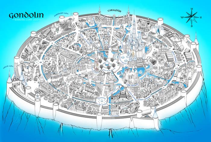 И всё-таки он круглый(Гондолин) Арт, Толкин, Средиземье, Гондолин, Фэнтези, Сильмариллион