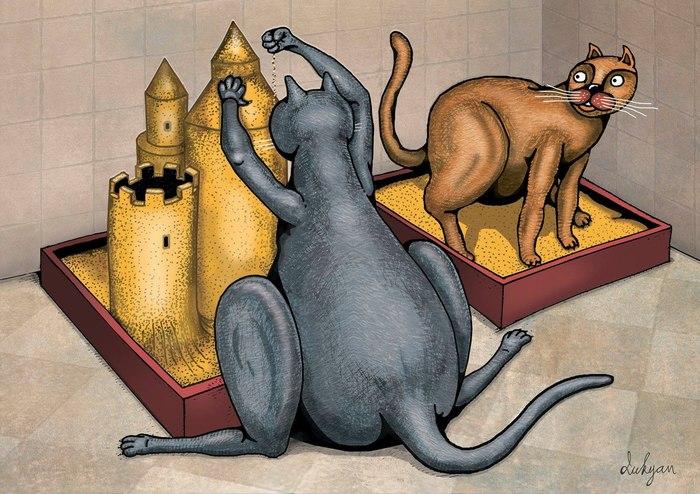 Творческий подход к посещению лотка Кот, Лоток, Картинки, ВКонтакте