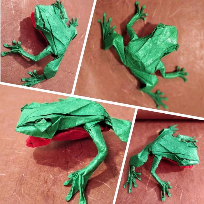 Origami Tree Frog (Satoshi Kamiya) Оригами, Origamipro, Лягушка, Handmade, Satoshi Kamiya, Лига оригами, Длиннопост