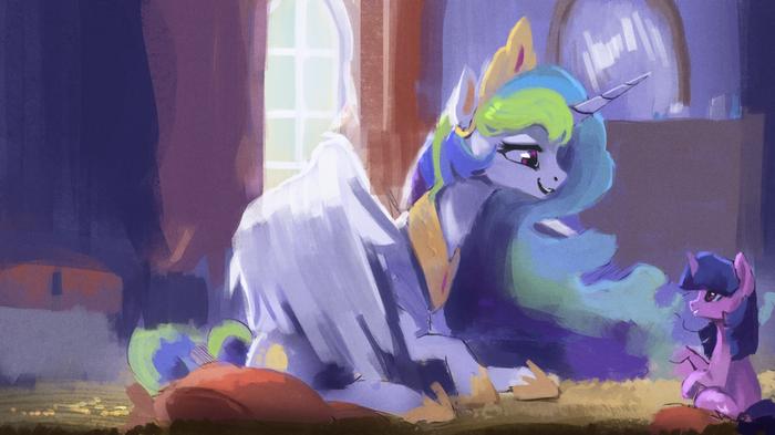 Lessons My little pony, Princess Celestia, Twilight Sparkle, Ponyart