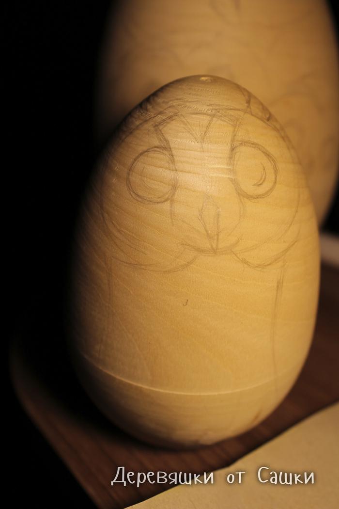 Ушастая сова. Процесс росписи матрёшки. Деревяшки от Сашки, Сова, Матрешка, Роспись по дереву, Ручная работа, Длиннопост, Рукоделие с процессом