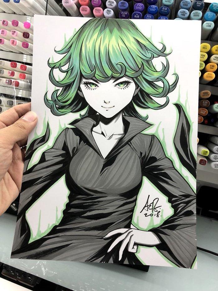 Пара работ отStanley Lau Anime Art, Аниме, Onepunchman, Fubuki, Tatsumaki, Stanley Lau, Длиннопост