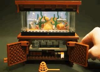 Мини Аквариум с рыбками из Lego LEGO ideas, LEGO, Аквариум, Бизнес, Хобби, Заработок, Гифка