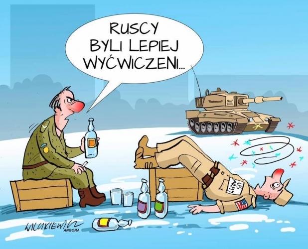 Польские карикатуристы стебутся над американскими военными, прибывшими в Польшу. Польша, Карикатура, Алкоголь, Армия США, Юмор, Не политика