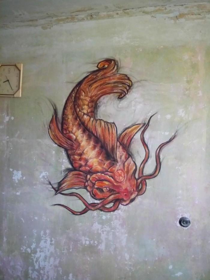 Традиционная татуировка для стены - японский карп Рисование, Пастель, Сухая пастель, Карп, Рисование на стенах, Традиционный арт