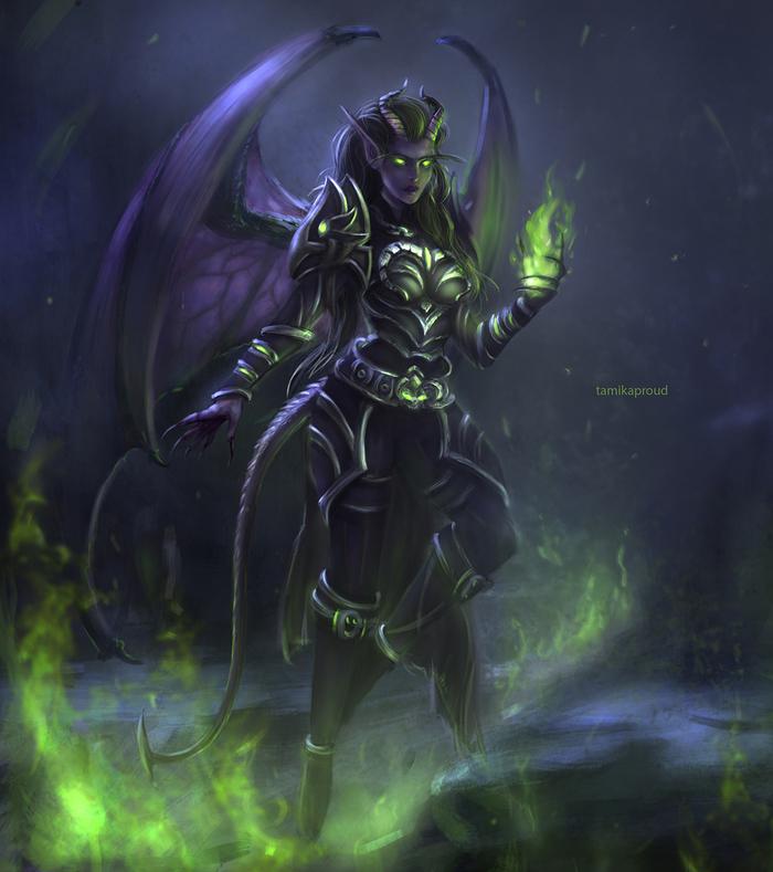 Nightmare World of Warcraft, Blizzard, Рисунок, Demon Hunter