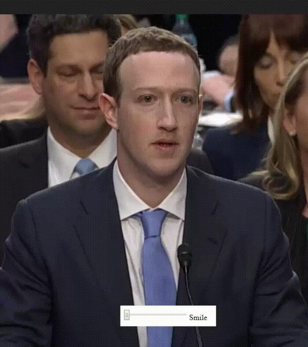 Слайдер улыбки Марк Цукерберг, Facebook, Улыбка, Искренность, Гифка