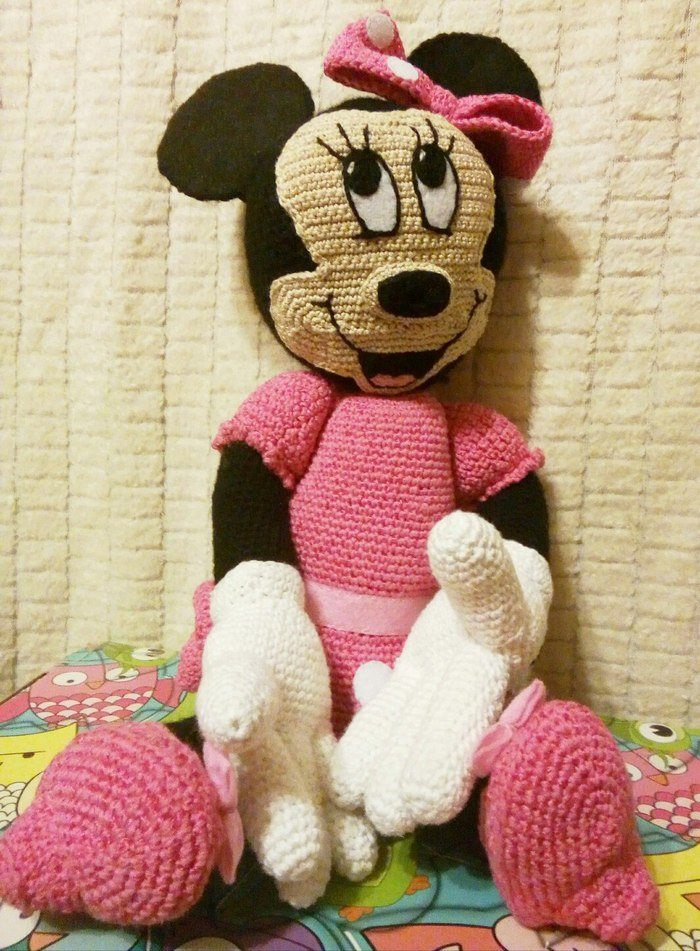 Минни Маус Minnie mouse, Крючок, Вязание, Длиннопост, Рукоделие без процесса