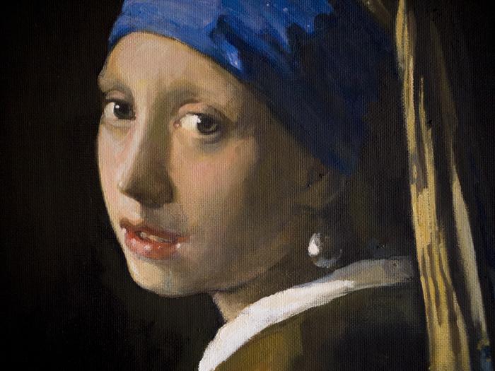 Написал копию одной очень известной картины Gnievyshev, Копия, Вермеер, Девушка с жемчужной серёжкой, Картина, Портрет, Девушки